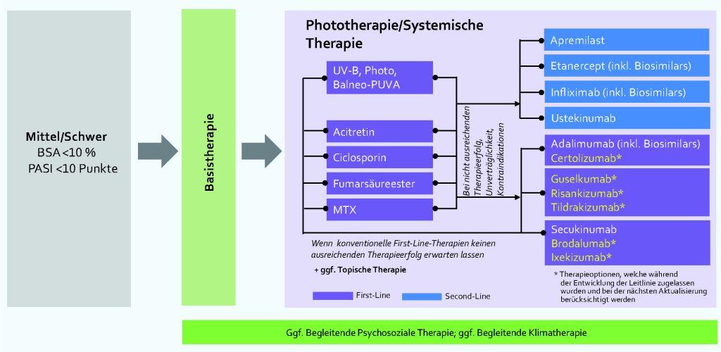 Therapieempfehlungen der Psoriasis vulgaris – modifiziert nach S3-Leitlinie